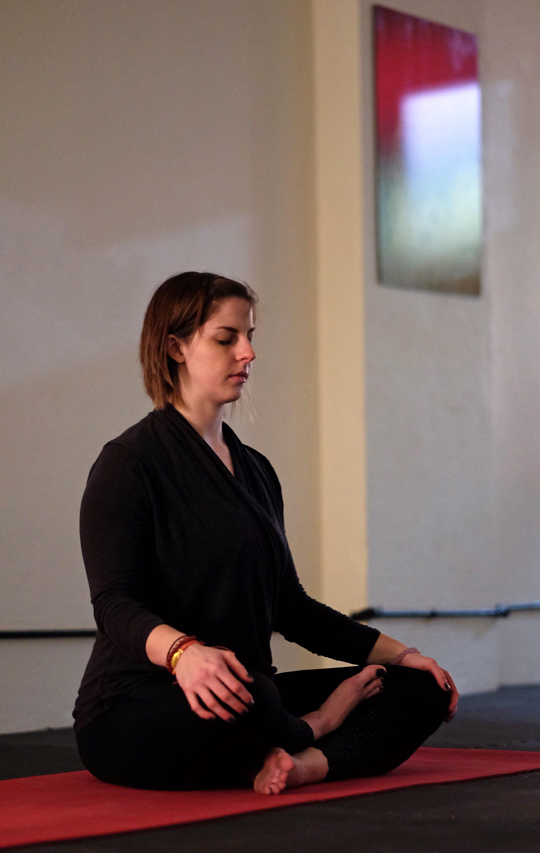 Zoe Berg teaches a power Vinyasa yoga class at Birdseed Yoga, Waynesboro, Va. Wednesday Nov. 23, 2016. (Photo by Norm Shafer).