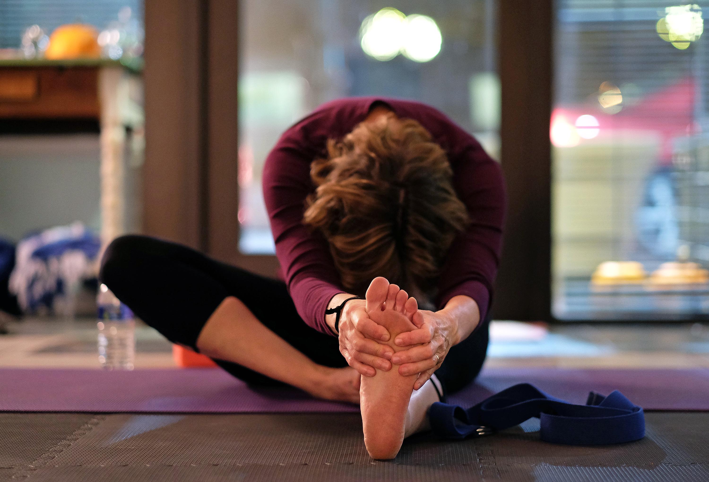 Paula Figgatt teaches a yoga class at Birdseed Yoga, Waynesboro, Va. Wednesday Nov. 23, 2016. (Photo by Norm Shafer).